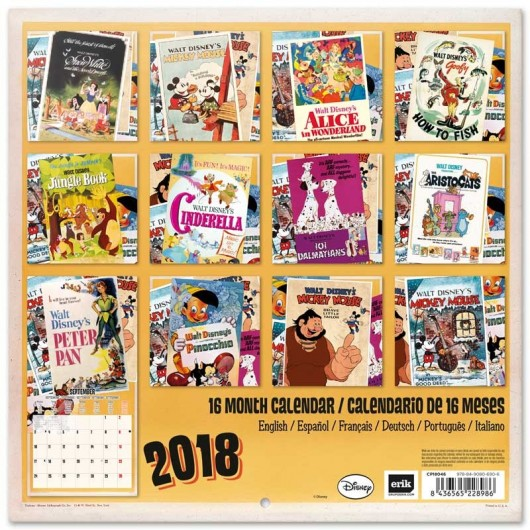 Calendario 2018 30X30 Disney Classic Films