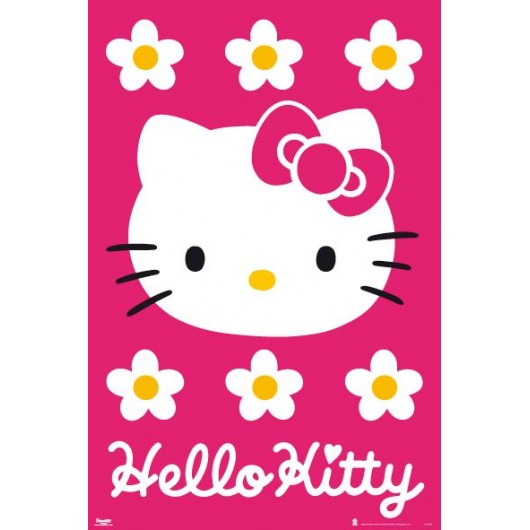 Maxi Poster Hello Kitty Fondo Rosa
