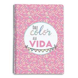 CUADERNO TAPA DURA A4 5X5 AMELIE CLASSIC ROSA