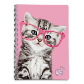 CUADERNO TAPA DURA A4 5X5 STUDIO PETS CAT GLASSES