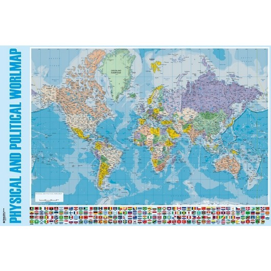 POSTER PHYSICAL AND POLITICAL WORLD MAP