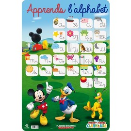 LAMINA EDUCATIVA FRANCES ALPHABET MICKEY MOUSE CLUB HOUSE