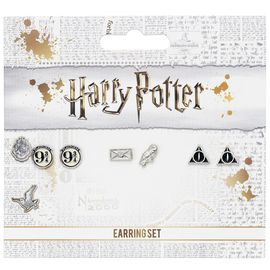 SET 3 PENDIENTES HARRY POTTER PLATFORM 9 3/4-HEDWIG & LETTER-DEATHLY HALLOWS