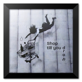 PRINT ENMARCADO 30X30 CM BRANDALISED SHOP TILL YOU DROP