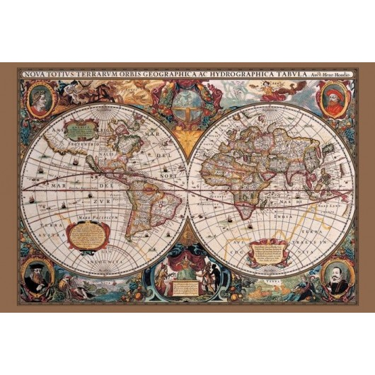 Maxi Poster 17Th Century World Map (Gold Ink)