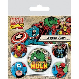Pack de Chapas Marvel Retro (Hulk)