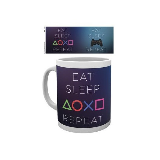 Taza Playstation Come, Duerme, Repite