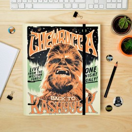 4 Ring Binder embossed with elastic band Star Wars Chewbacca