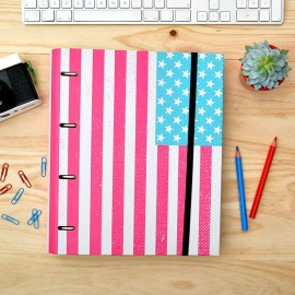 4 Ring Binder embossed with elastic band Premium U.S. Flag