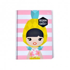 CUADERNO TAPA DURA A4 5X5 LIL LEDY PINEAPPLE