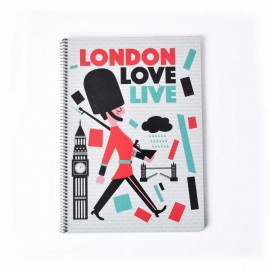 Notebook Hard Cover A4 London Colors