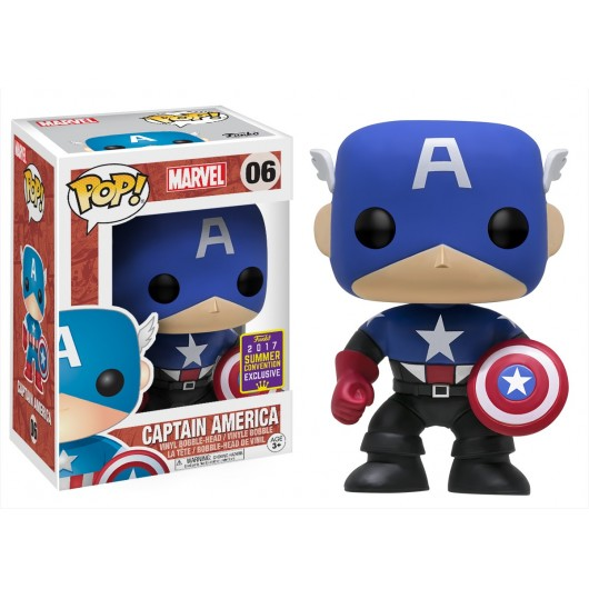 Pop Bobble Marvel Black Blue Cap America Sdcc 2017 Exc