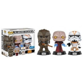 Pop Vinyl 3 Pack Star Wars Tarfful Unhooded Emperor Utapau Clone Trooper