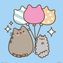PRINT 30X30 CM PUSHEEN THE CAT BALLOONS