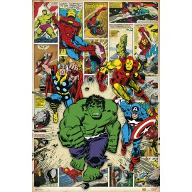 POSTER MARVEL COMIC HERE COME THE HEROES