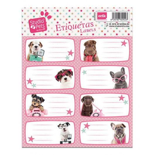 ETIQUETAS ESCOLARES STUDIO PETS DOG CAMERA