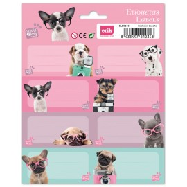 ETIQUETAS ESCOLARES STUDIO PETS DOG GLASSES