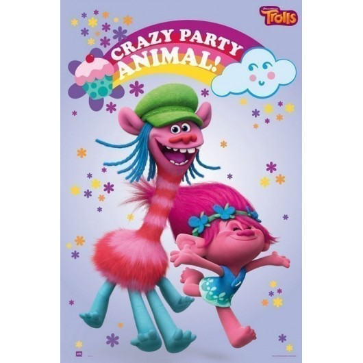 POSTER TROLLS CRAZY PARTY ANIMAL