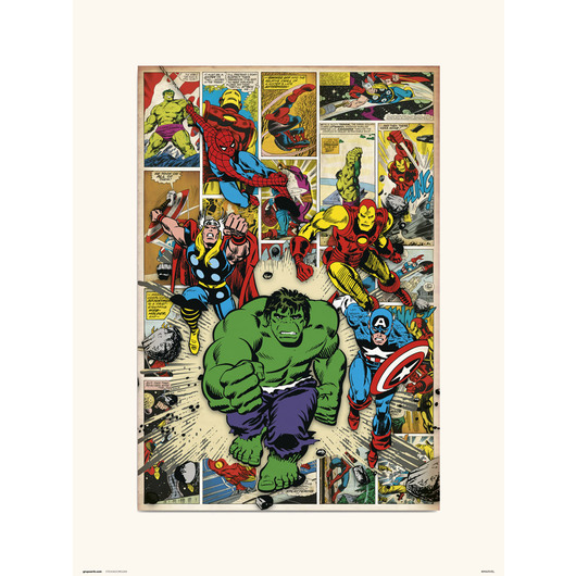 PRINT 30X40 CM MARVEL COMIC HERE COME THE HEROES