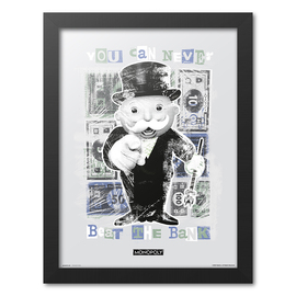 PRINT ENMARCADO 30X40 CM MONOPOLY YOU CAN NEVER BEAT THE BANK
