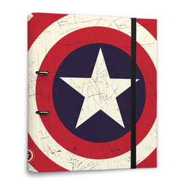 CARPETA 2 ANILLAS TROQUELADA PREMIUM MARVEL CAPTAIN AMERICA SHIELD