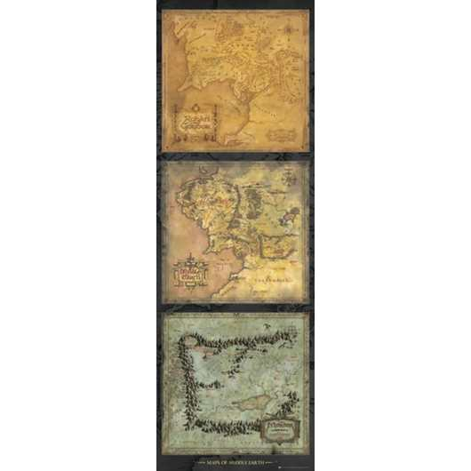 POSTER PUERTA LORD OF THE RINGS MAPS OF MIDDLE EARTH