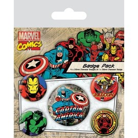 PACK CHAPAS MARVEL RETRO (CAPTAIN AMERICA)