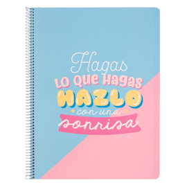 CUADERNO TAPA POLIPROPILENO A4 5X5 MICROPERFORADO CAROUGE BLUE & PINK
