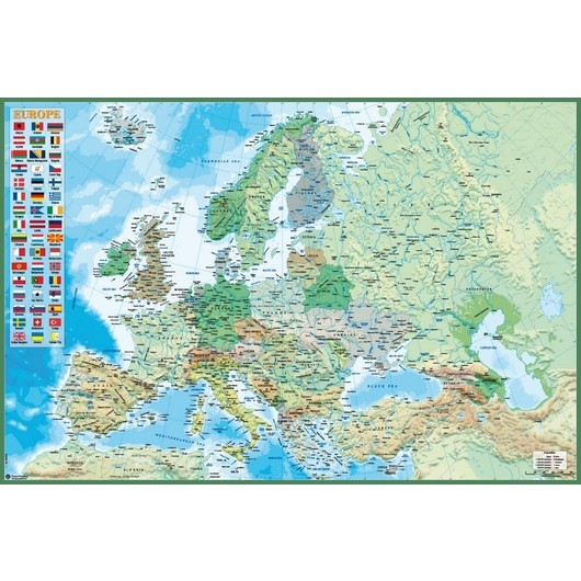 POSTER POLITICAL AND PHYSICAL MAP OF EUROP