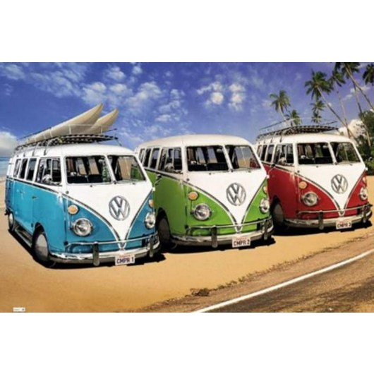 POSTER VW CALIFORNIAN CAMPERS TRES COLORES