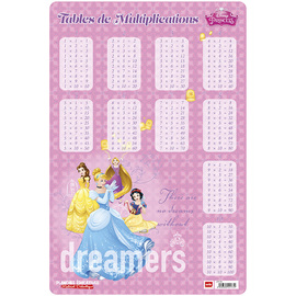 LAMINA EDUCATIVA FRANCES TABLE DE MULTIPLICATON PRINCESSES