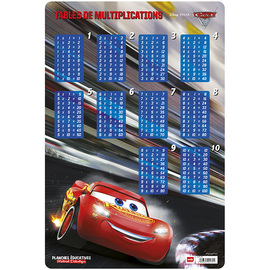 LAMINA EDUCATIVA FRANCES TABLE DE MULTIPLICATION CARS 3