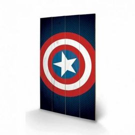 CUADRO GRANDE MADERA 45X76 MARVEL CAPTAIN AMERICA SHIELD