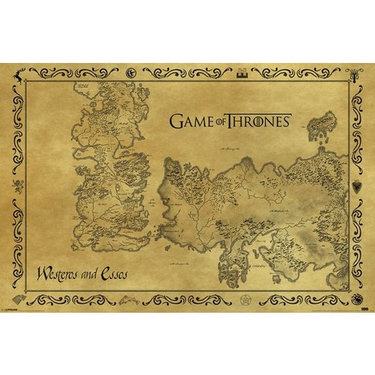 POSTER GAME OF THRONES ANTIQUE MAP