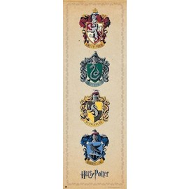 POSTER PUERTA HARRY POTTER HOUSE CRESTS