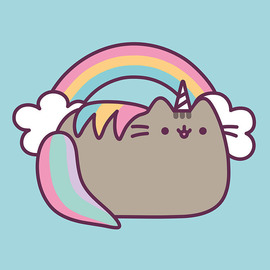 CANVAS 30X30 CM PUSHEEN THE CAT RAINBOW
