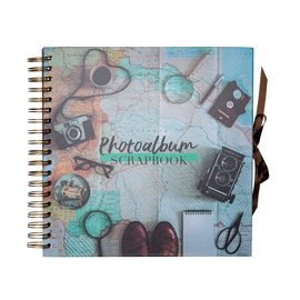 SCRAPBOOK ALBUM FOTO 26X26CM 40 PAGINAS VINTAGE TRAVEL