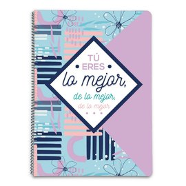 CUADERNO TAPA DURA A4 5X5 AMELIE FLORAL