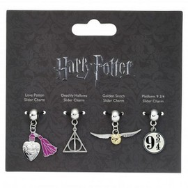 SET 4 ABALORIOS HARRY POTTER GOLDEN SNITCH-DEATHLY HALLOWS-LOVE POTION-PLATFFORM 9 3/4