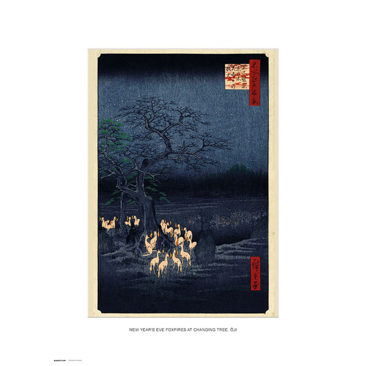 PRINT 30X40 CM NEW YEAR'S EVE FOXFIRES AT THE CHANGING TREE, OJI