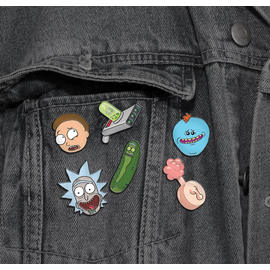 DISPLAY 18 PINS TROQUELADOS RICK & MORTY