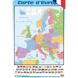 Educational Poster Francia Carte Du Europe