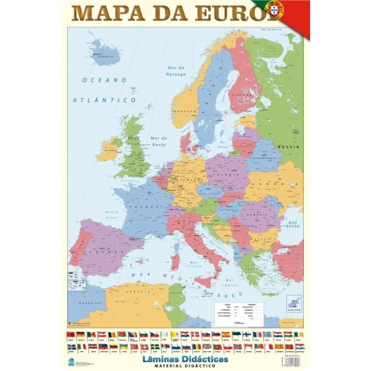 Educational Poster Portugal Mapa Europa