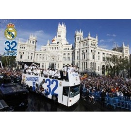 Postcards A4 Real Madrid Jugadores En Autobus